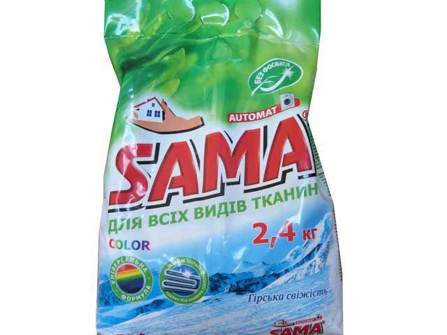 Стиральный порошок SAMA автомат COLOR Горная свежесть 2,4 кг