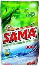 Стиральный порошок SAMA бесфосфатный для ручной стирки Горная свежесть 800 гр