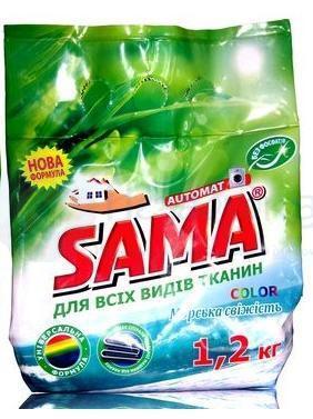 Стиральный порошок SAMA бесфосфатный автомат Морская свежесть 1,2 кг