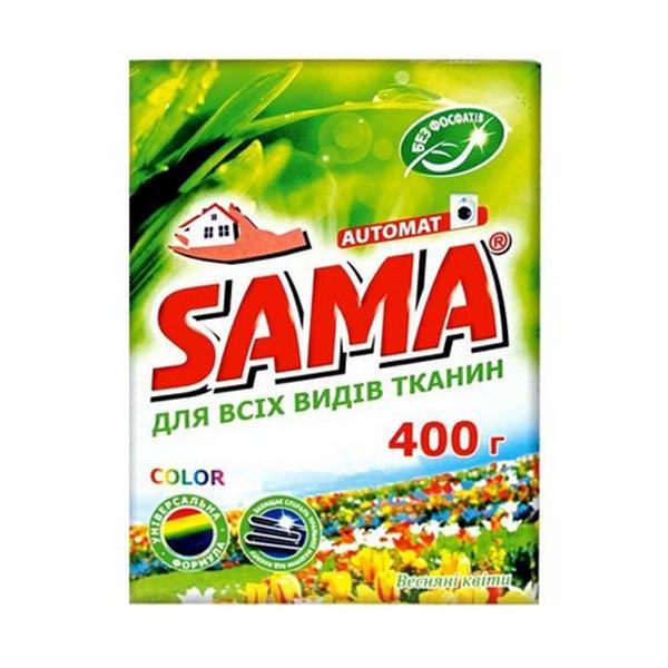 Стиральный порошок SAMA бесфосфатный автомат COLOR весенние цветы 400 гр