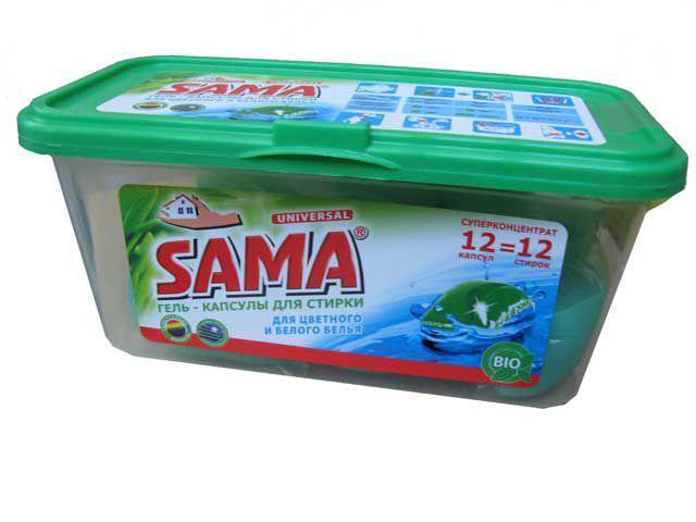Гель для стирки в растворимых капсулах SAMA 12 шт
