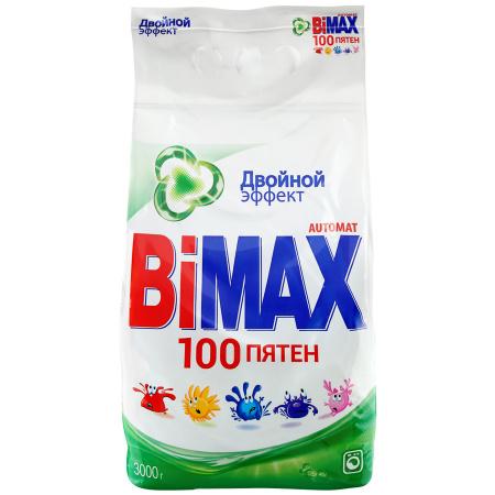 Стиральный порошок BiMAX 100 пятен автомат мягкая упаковка 3 кг