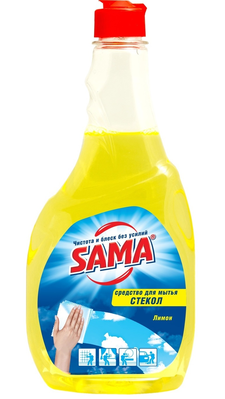 Средство для мытья стекла SАМА Лимон (сменный блок) 500 мл