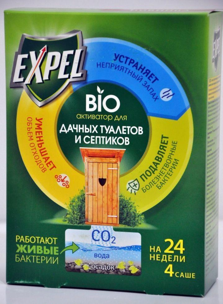 Биоактиватор Expel  для выгребных ям в дачных туалетах и септиков, 4 саше в упаковке