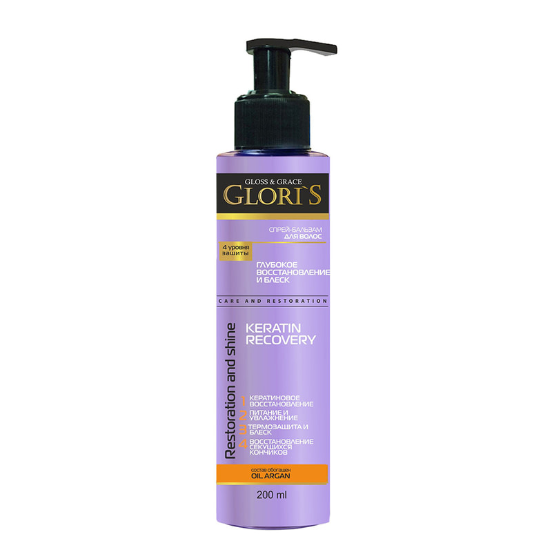 Спрей-бальзам для волос Glori's Keratin Recovery 4 уровня защиты 200 мл