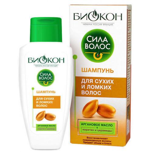 Шампунь Биокон Сила волос Аргановое масло для сухих и ломких волос 215 мл