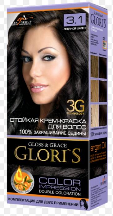Крем-краска для волос (2 применения) Glori's Ледяной шатен 3.1