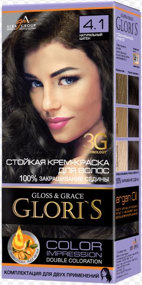 Крем-краска для волос (2 применения) Glori's Натуральный шатен 4.1