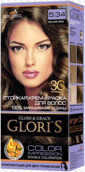 Крем-краска для волос (2 применения) Glori's Лесной орех 5.34