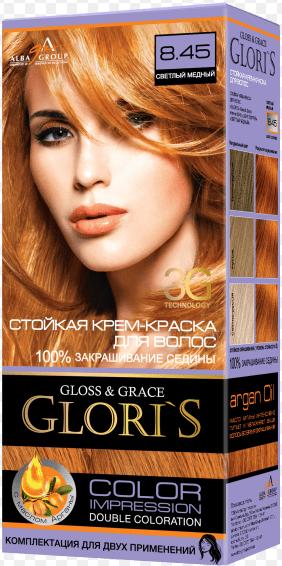 Крем-краска для волос (2 применения) Glori's Светлый медный 8.45