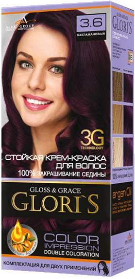 Крем-краска для волос (2 применения) Glori's Баклажановый 3.6