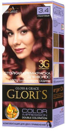 Крем-краска для волос (2 применения) Glori's Гранатовый 3.4