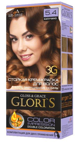 Крем-краска для волос (2 применения) Glori's Капучино 5.4