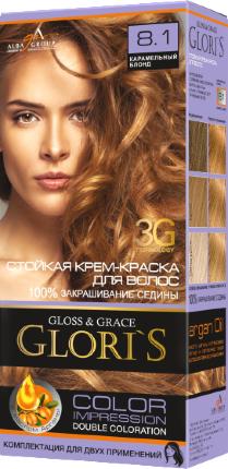Крем-краска для волос (2 применения) Glori's Карамельный блонд 8.1