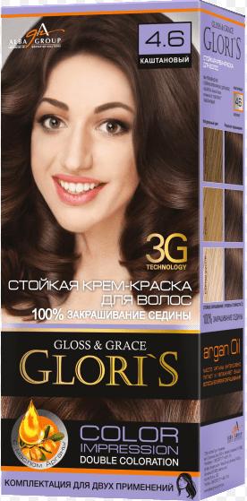 Крем-краска для волос (2 применения) Glori's Каштановый 4.6