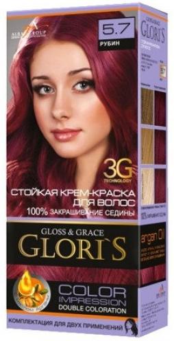 Крем-краска для волос (2 применения) Glori's РуБин 5.7