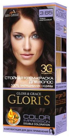 Крем-краска для волос (2 применения) Glori's Темно - каштановый 3.65