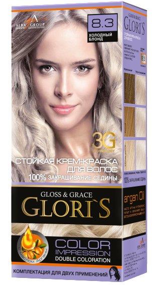 Крем-краска для волос (2 применения) Glori's Холодный блонд 8.3