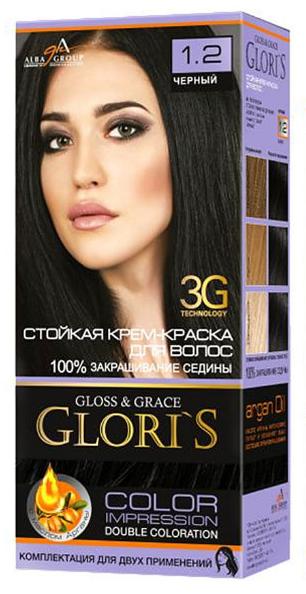 Крем-краска для волос (2 применения) Glori's Черный 1.2