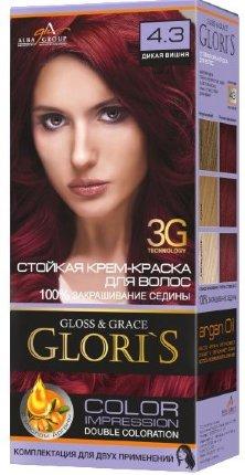 Крем-краска для волос (2 применения) Glori's Дикая вишня 4.3