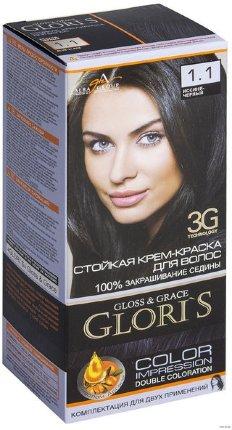 Крем-краска для волос (2 применения) Glori's Иссиня - черный 1.1