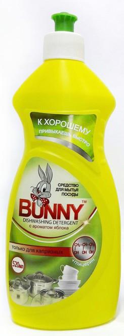 Средство для мытья посуды + глицерин BUNNY с ароматом Яблока 500 мл